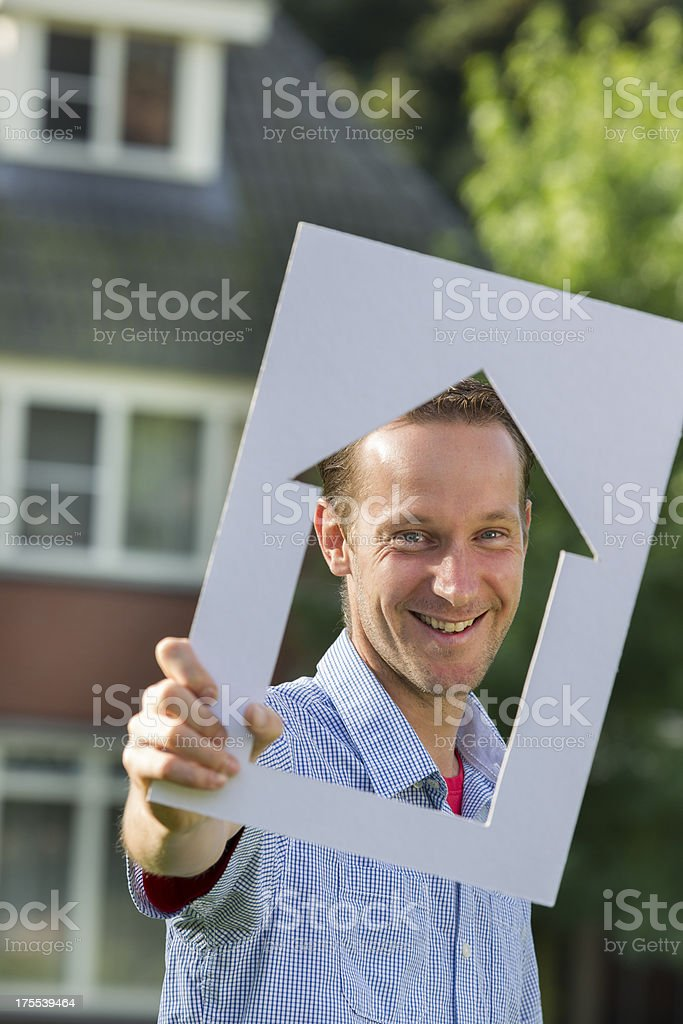 Bachelor dreaming of new house stock photo