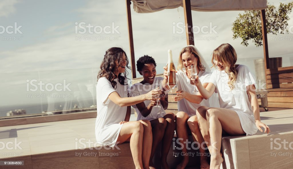 Bachelorette party on rooftop stock photo