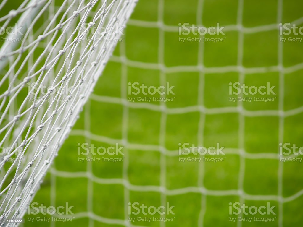 Back and side of a football goal net royalty-free stock photo