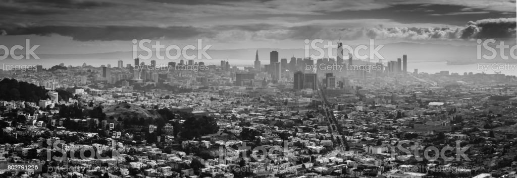 Back and White View of Downtown San Francisco in a Foggy day stock photo