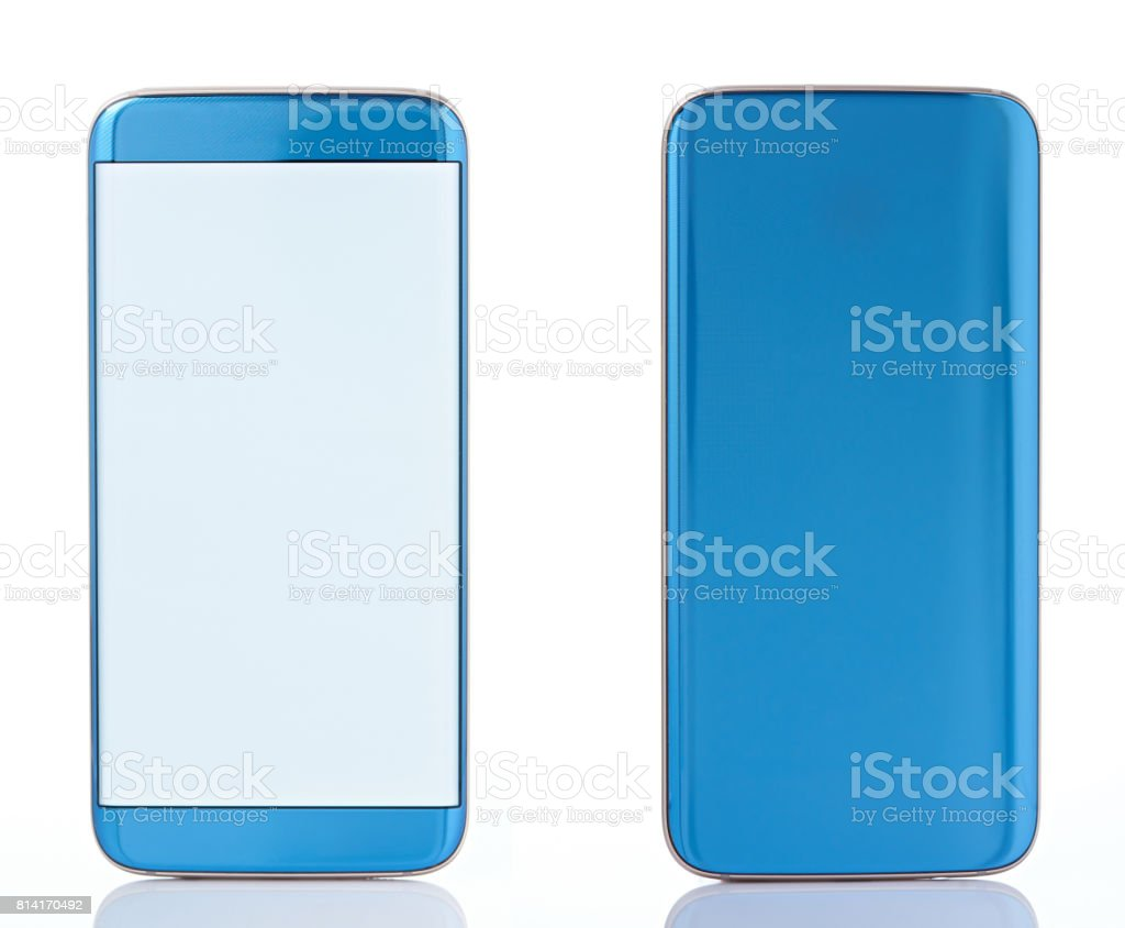 Back anf front view of generic smartphone stock photo