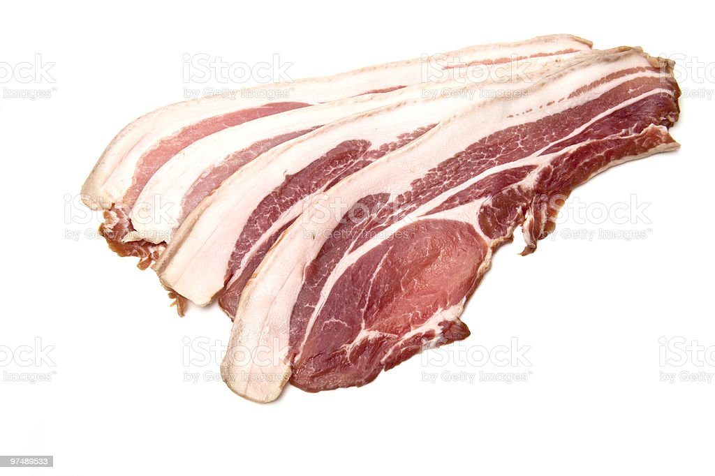 Back bacon smoked on a white background. royalty-free stock photo