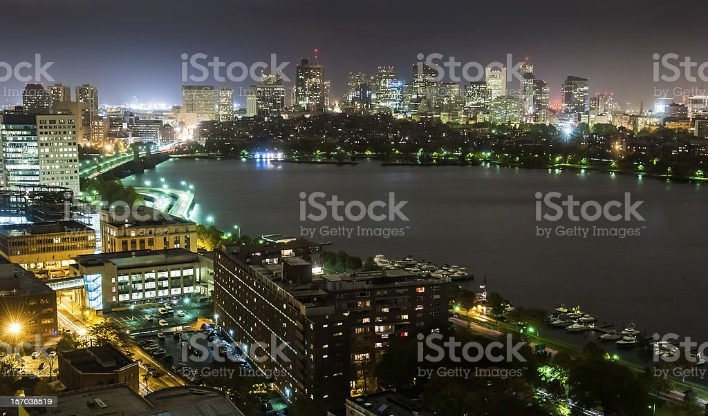 Back Bay and Cambridge Overcast Night Wide stock photo