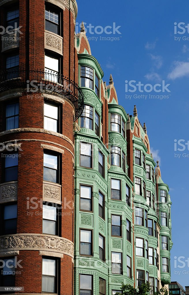 Back Bay, Boston. Apartment Building Detail royalty-free stock photo