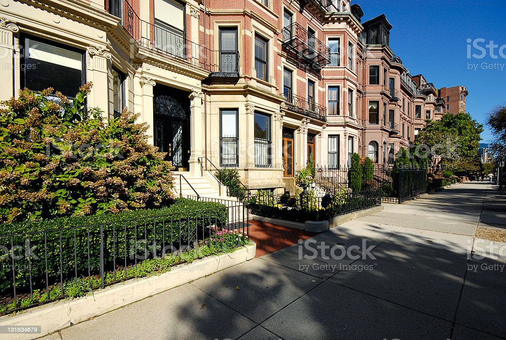 Back Bay residential district in Boston stock photo
