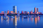 Back Bay skyline evening with Longfellow Bridge. Boston is known for its central role in American history, world-class educational institutions, cultural facilities, and champion sports franchises