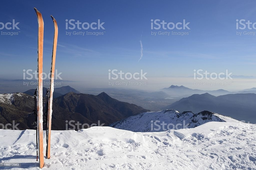 Back country ski on the top royalty-free stock photo