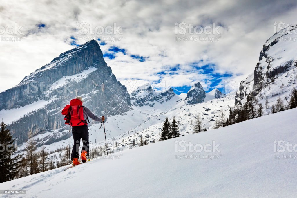 Back country Ski touring in alps with Watzmann in background stock photo