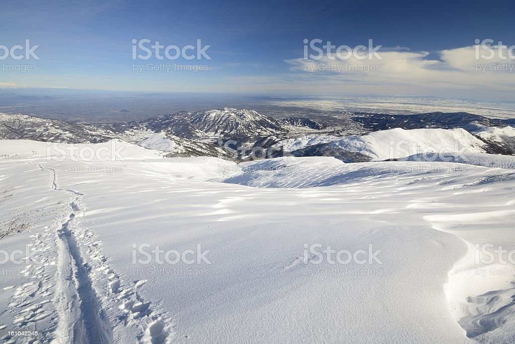 Back country ski tracks on the ridge royalty-free stock photo