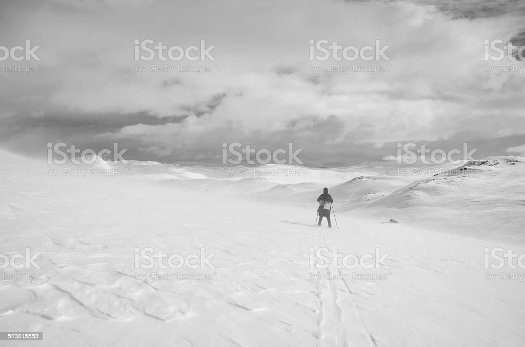 Back country skier at high altitude in Jotunheimen National Park stock photo