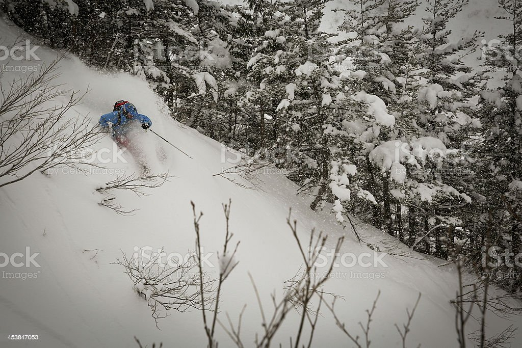 Back Country Skier in Japan stock photo