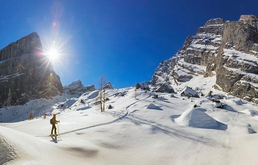 Back country skier on white slopes at Watzmann - Alps