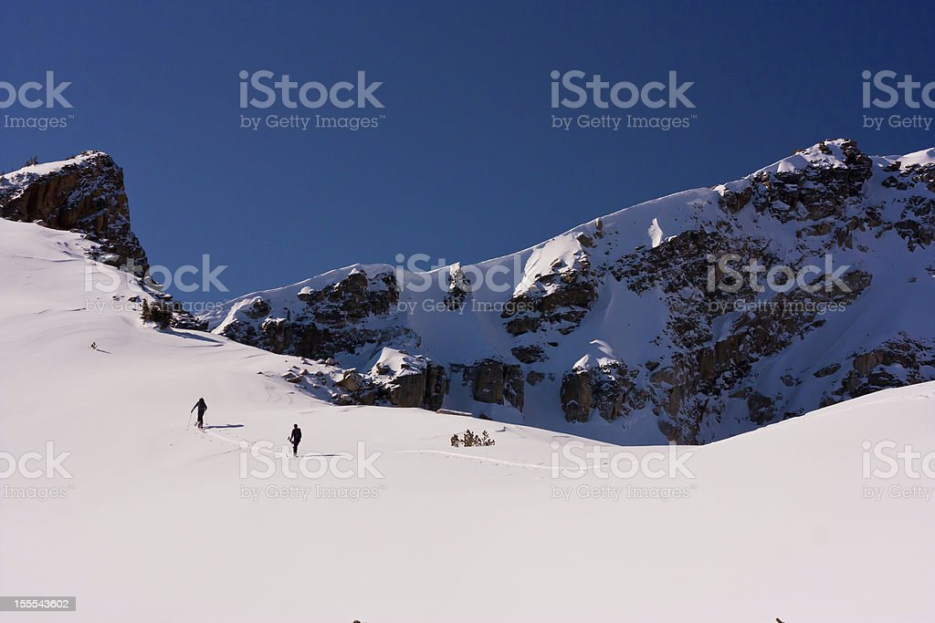 Back Country Skiers on Ridge, Tetons royalty-free stock photo