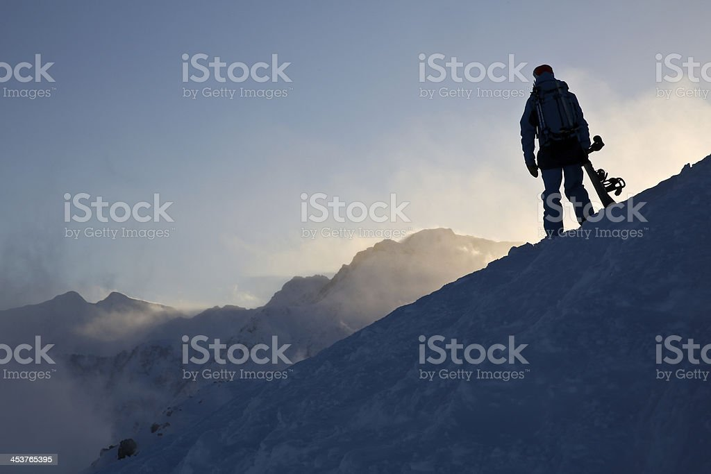 Back Country Snowboarder stock photo