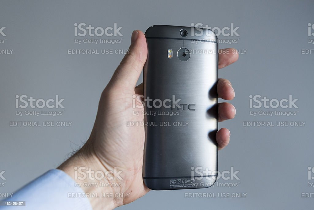 Back cover of HTC One M8 made from aluminium stock photo