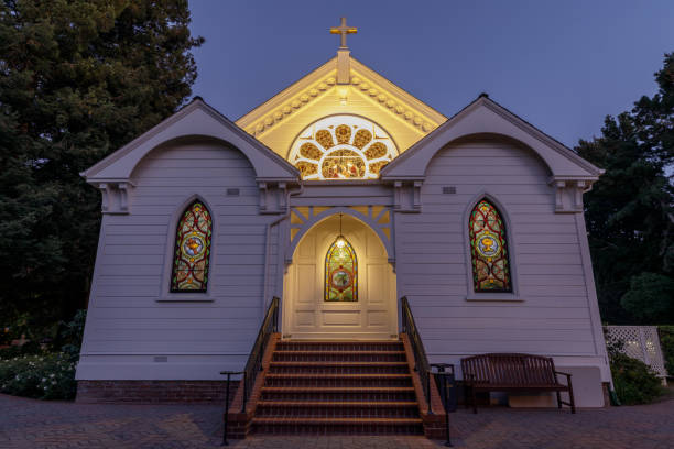 Back entrance of Church of the Nativity in Menlo Park California USA Menlo Park, California - October 2, 2019: Back entrance of Church of the Nativity. revival stock pictures, royalty-free photos & images