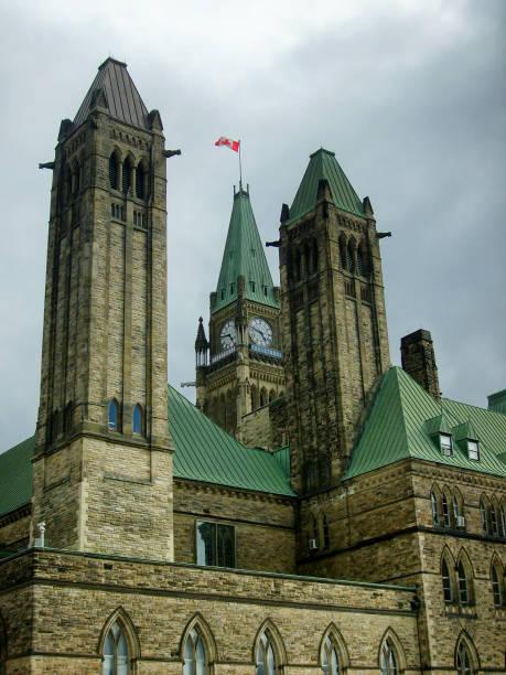 Back Exterior Facade on Ottawa Parliament Clock Tower stock photo