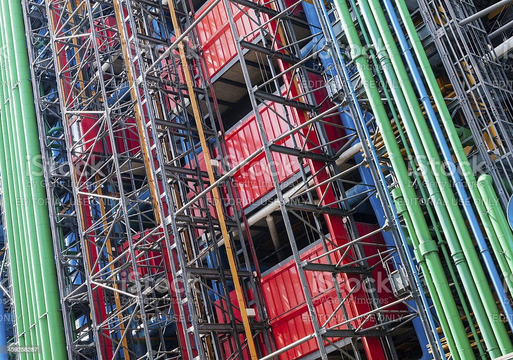 Back facade of Pompidou Centre in Paris, France royalty-free stock photo