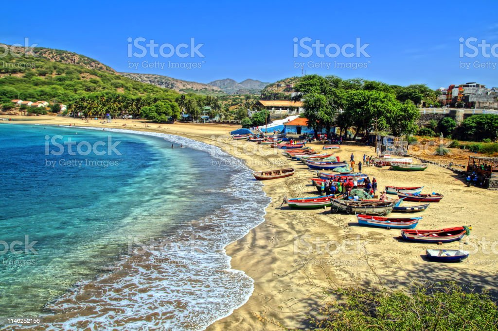 Back from fishing at Tarrafal beach It is the most beautiful beach on Santiago island Beach Stock Photo