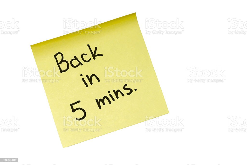 Back in 5 mins royalty free stockfoto