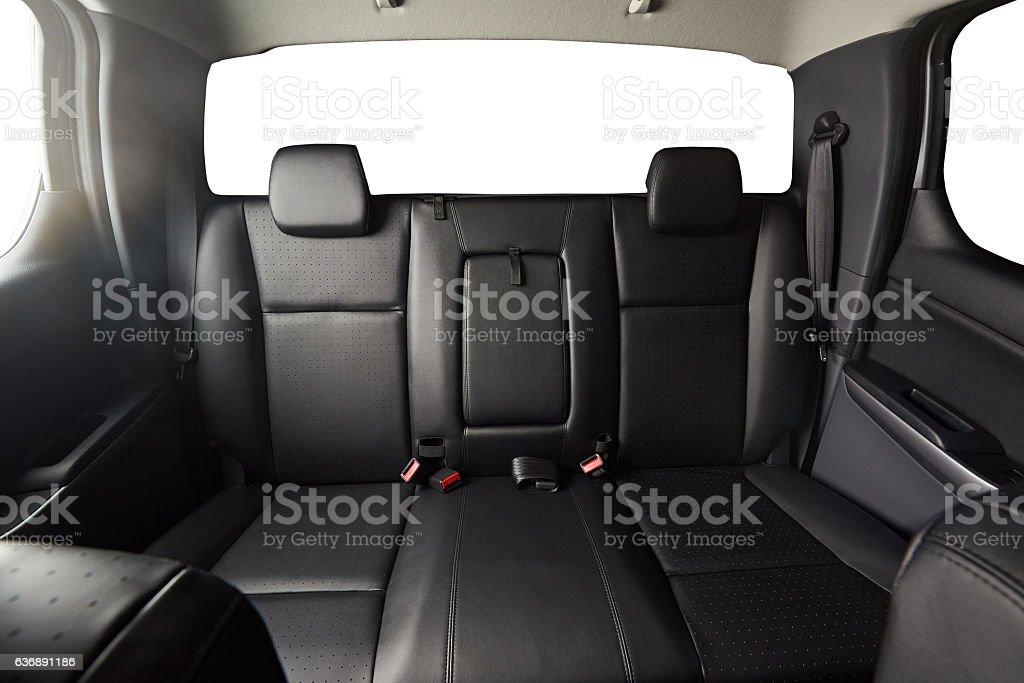 Back leather seat of modern pickup – Foto