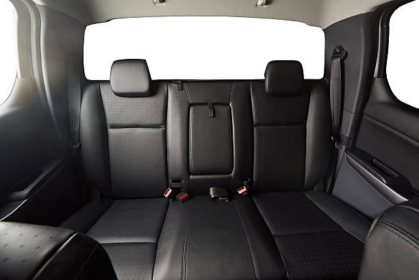 back leather seat of modern pickup - auto interieur stockfoto's en -beelden