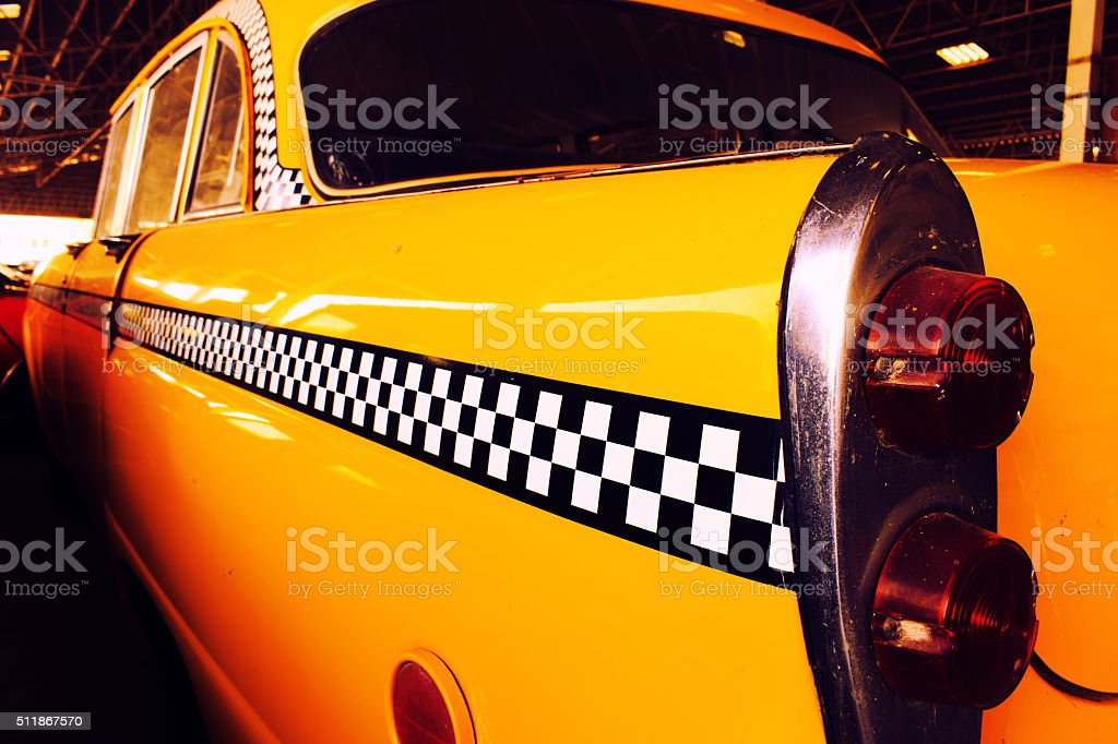 Back light of Taxi Checker, Yellow Cab Taxi. stock photo