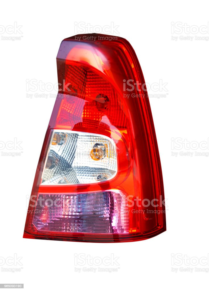 Back lights of red car on white background royalty-free stock photo