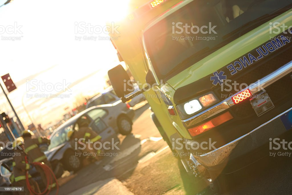 Back Lit Accident Scene royalty-free stock photo