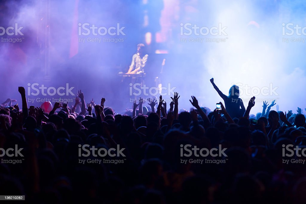 Back lit crowd at a music concert royalty-free stock photo