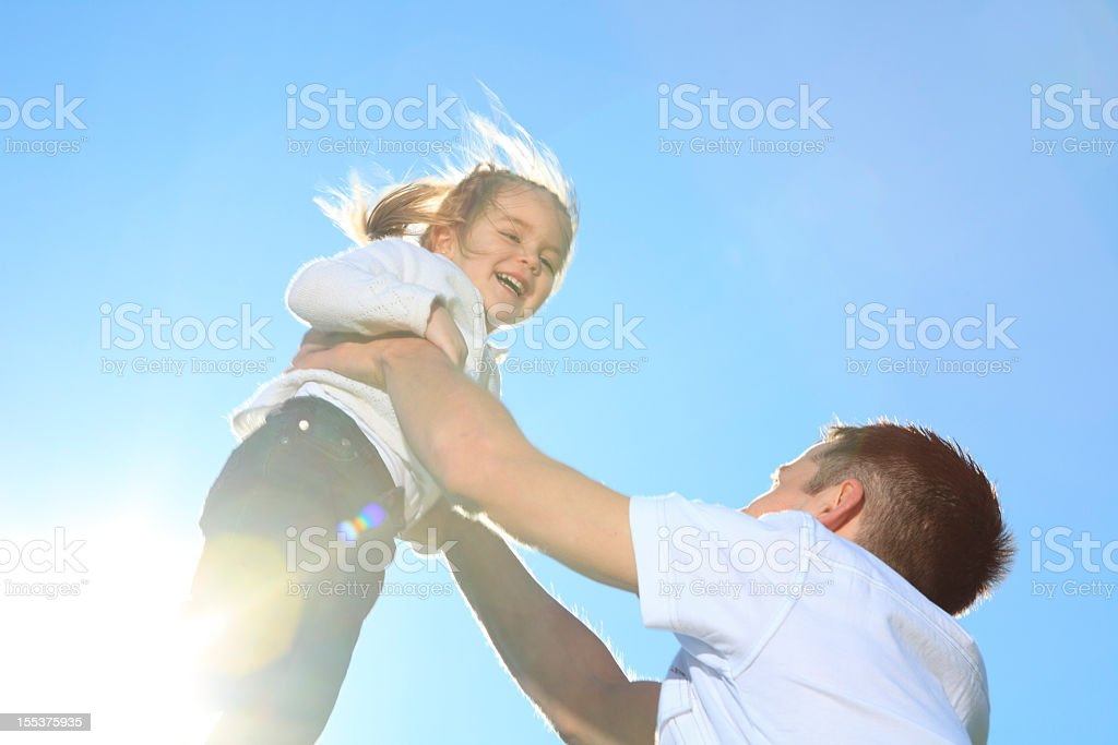 Back Lit - Father Play Child stock photo
