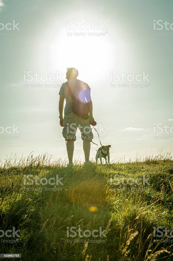 Back lit of man walking dog at the hill top stock photo