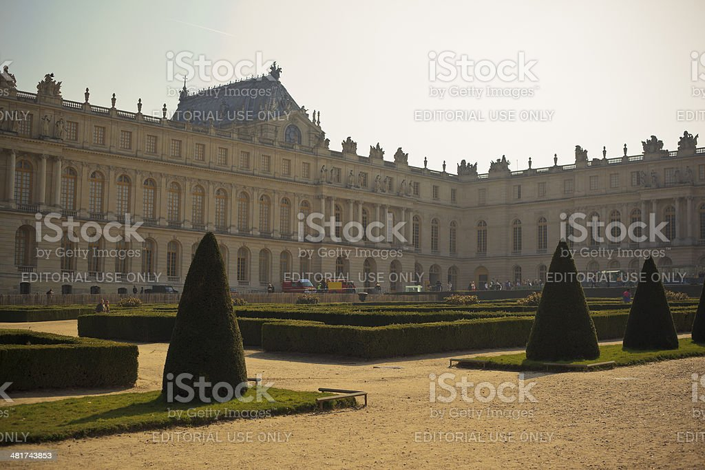 Back Lit Palace of Versailles stock photo