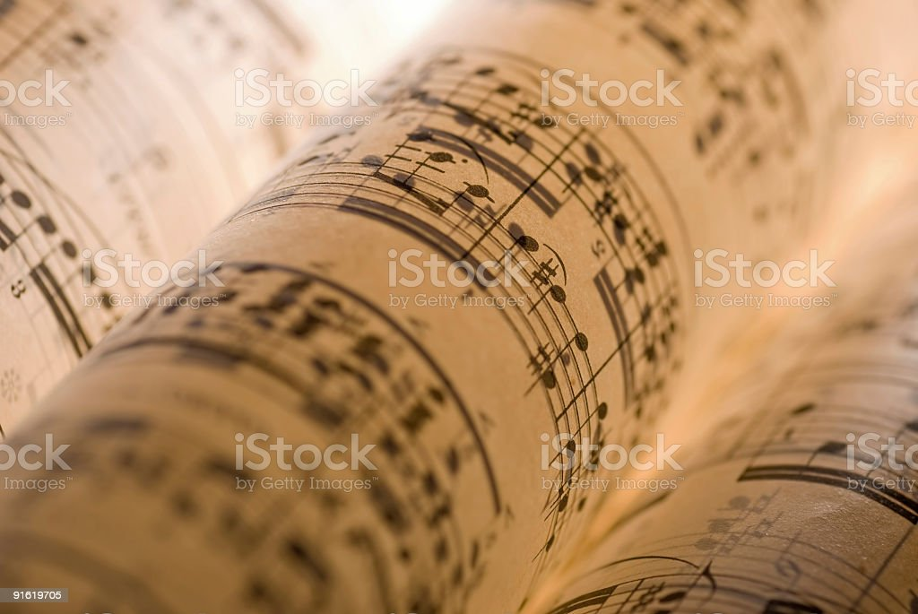 Back lit sheet music stock photo