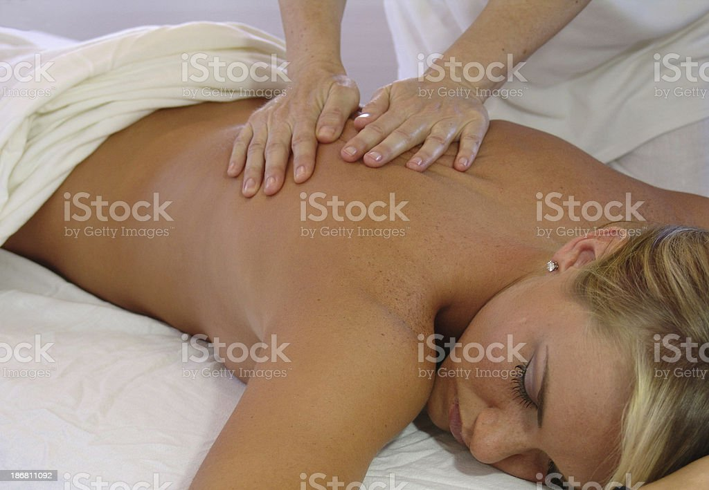 back massage with oil royalty-free stock photo