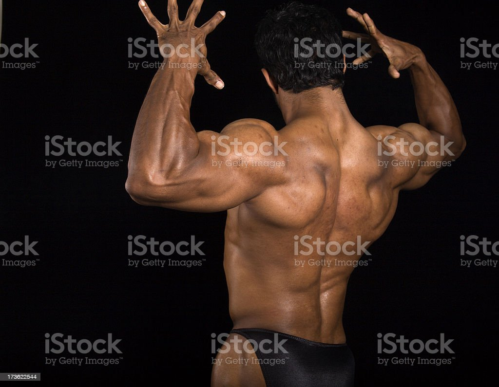 Back Muscles Flexed On Male Bodybuilder Stock Photo More Pictures