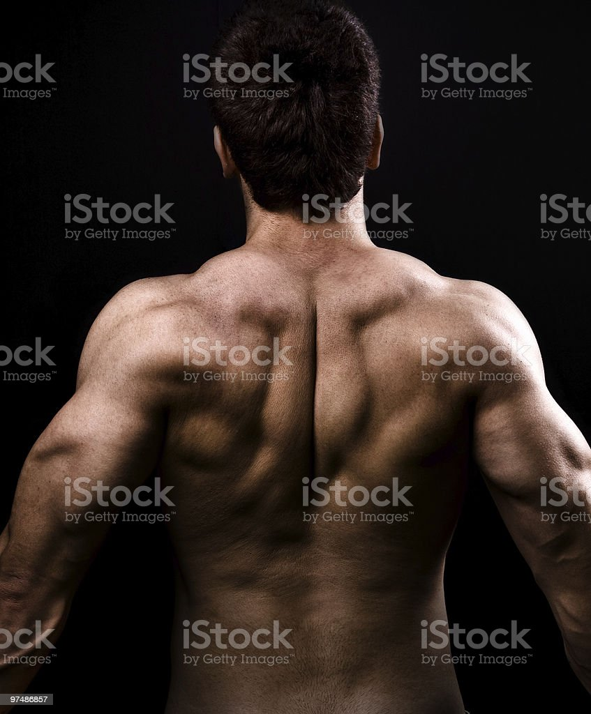 Back muscles of big healthy naked man royalty-free stock photo