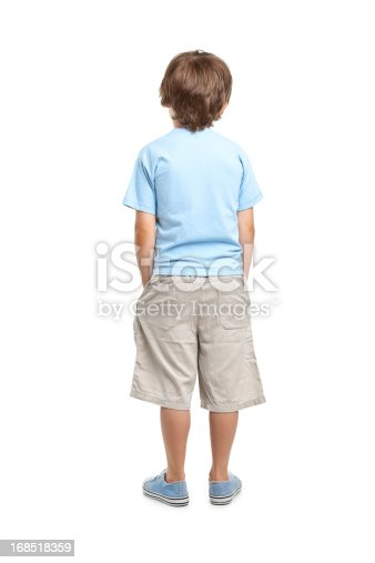 portrait of eight years old boy isolated on white