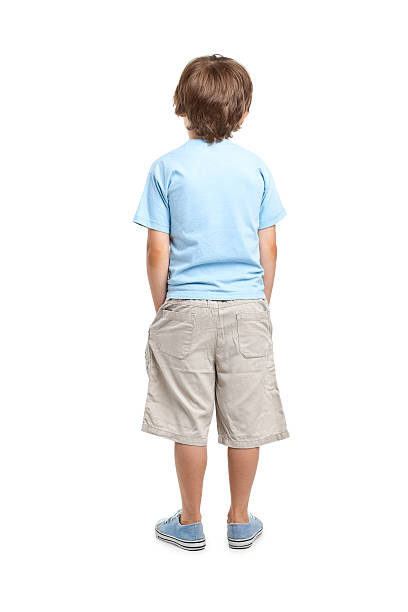 back of 8 years old boy - rear view stock photos and pictures