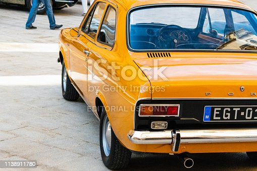 istock Back of a classic Ford Escort. - Malta Classic is the biggest Classic car event in the country. Organized every October where you can visit the Concours D'Elegance (a show with the participating cars) and a real Classic car Grand Prix. 1138911780