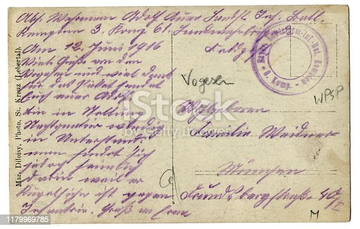 Back of an old postcard with German handwriting, 1916