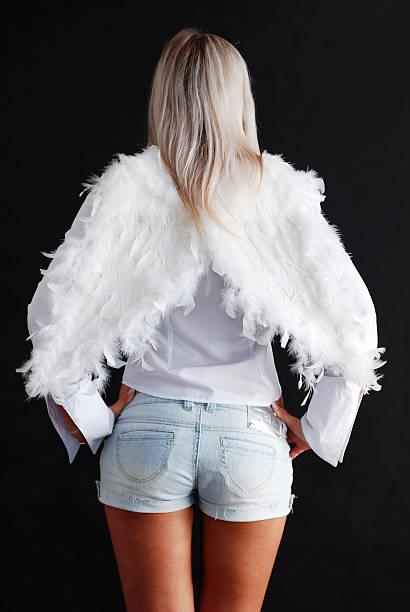 rückseite der angel - damen hosen angels stock-fotos und bilder