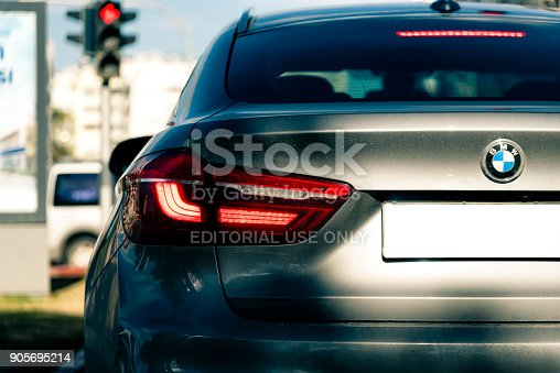 istock Back of BMW X6 in traffic 905695214
