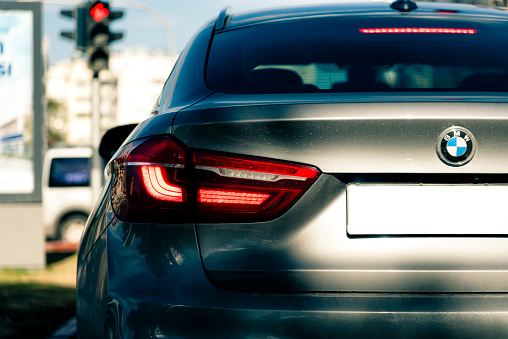 Back Of Bmw X6 In Traffic Stock Photo - Download Image Now