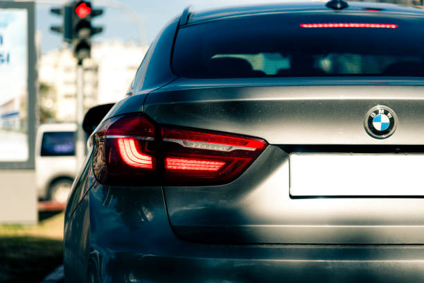 Back of BMW X6 in traffic stock photo