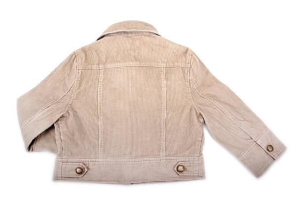 rückseite des jungen jeansjacke isoliert auf weißem hintergrund - bräutigam jeans stock-fotos und bilder