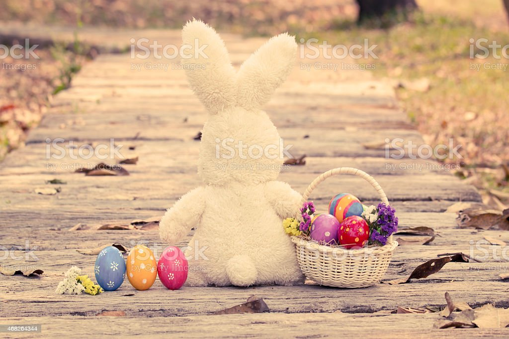 Back of bunny surrounded by colorful Easter eggs stock photo