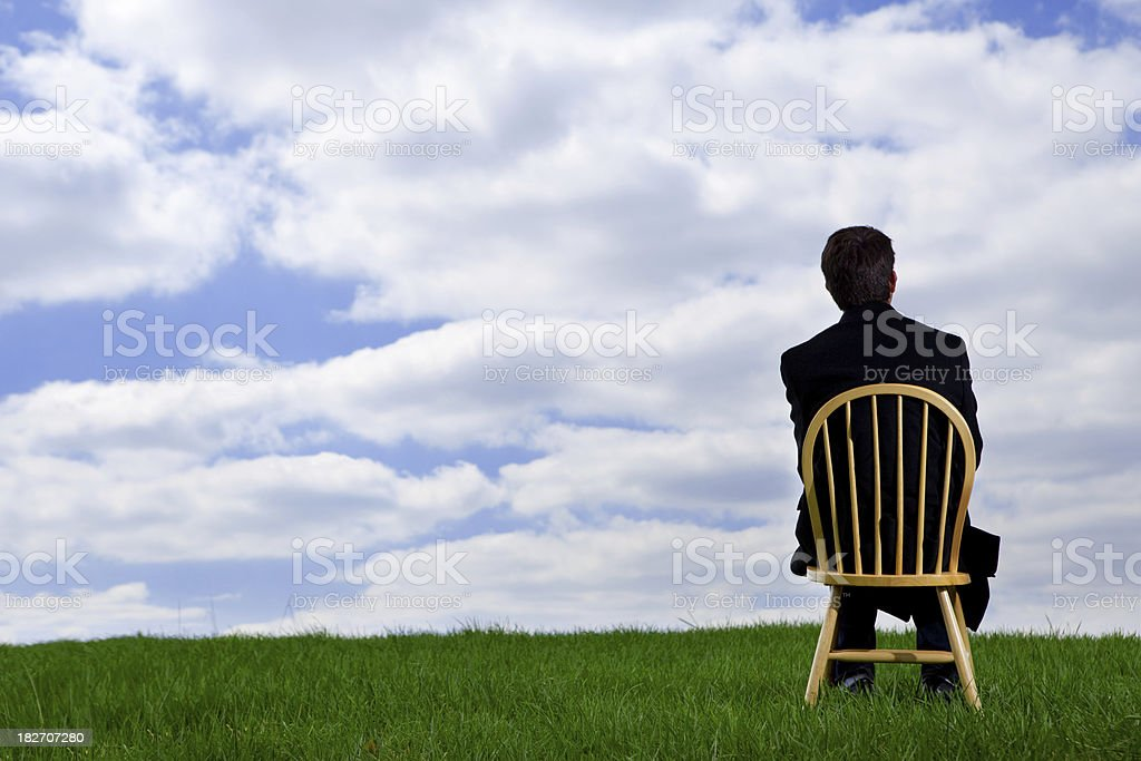Back of Business Man in open Field royalty-free stock photo