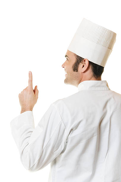 Back of Chef Pointing Up stock photo