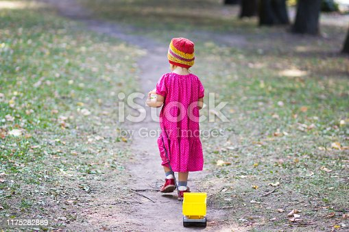 1045032684 istock photo Back of child going away in summer park 1175282889